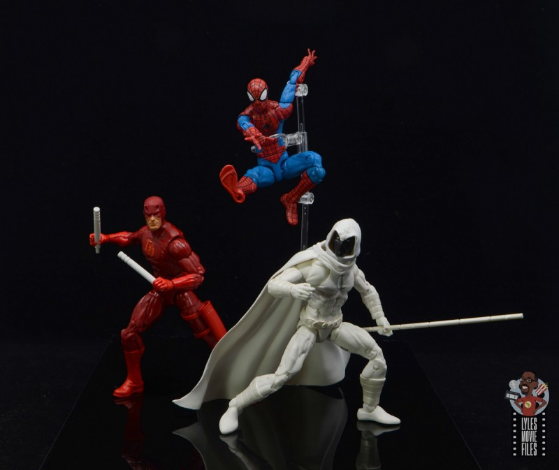 marvel legends moon knight figure review - with daredevil and spider-man