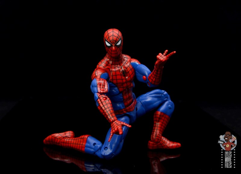 marvel legends retro spider-man figure review - on one knee