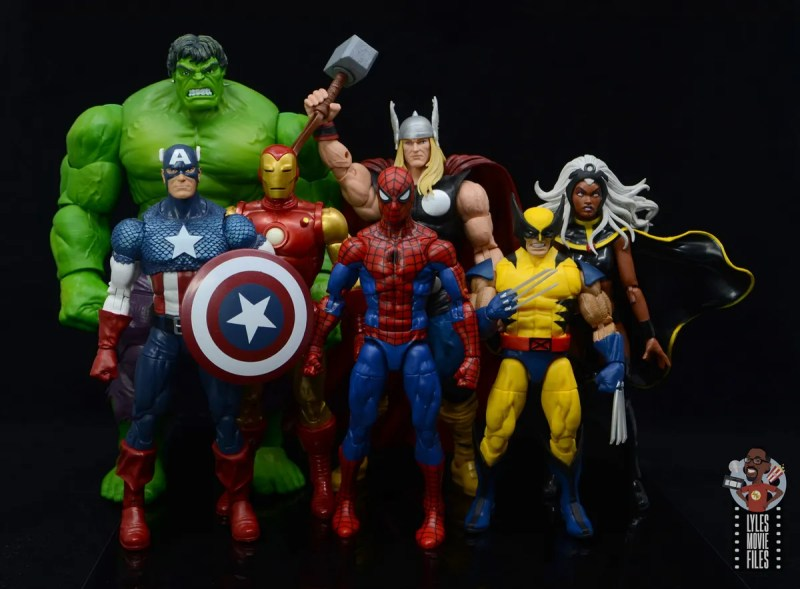 marvel legends retro spider-man figure review - with hulk, captain america, iron man, thor, wolverine and storm