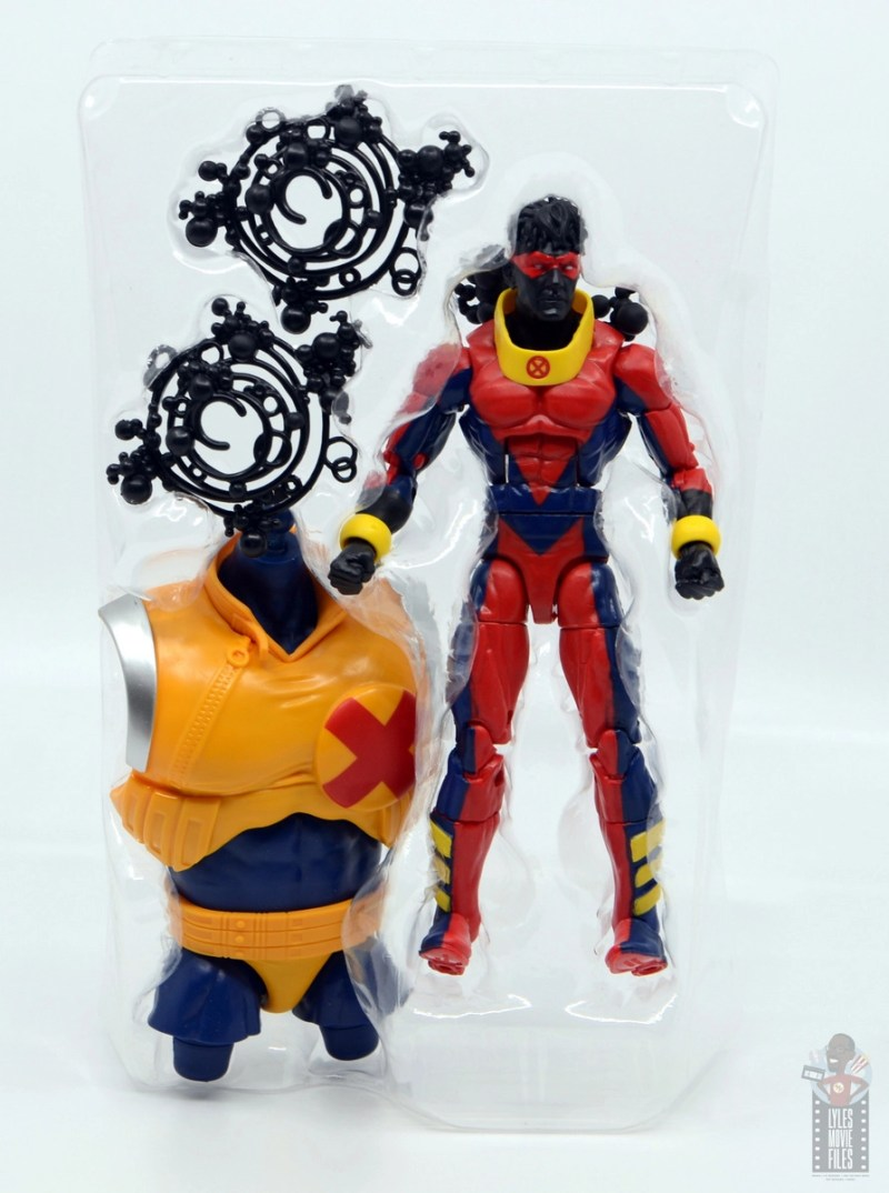 marvel legends sunspot figure review - accessories in tray