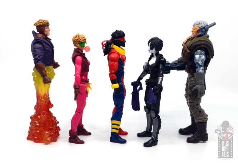 marvel legends sunspot figure review - facing cable, boom boom, cannonball and domino