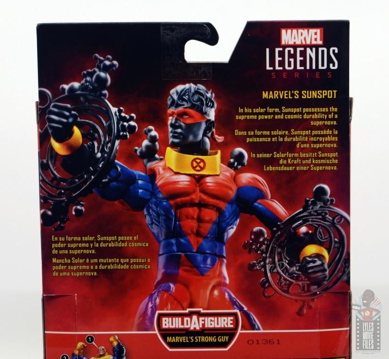 marvel legends sunspot figure review - package bio