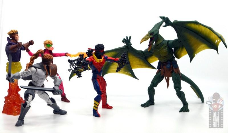 marvel legends sunspot figure review - with x-force vs sauron