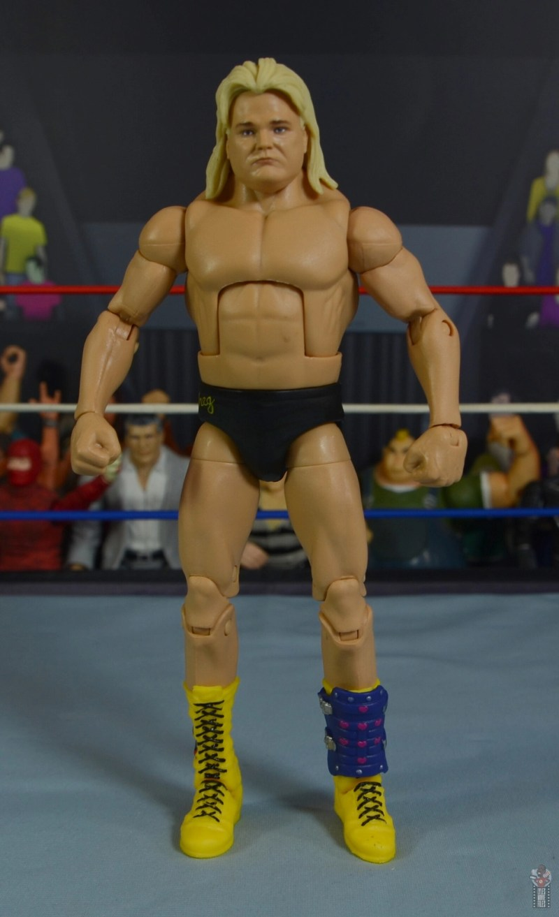 wwe legends 7 greg the hammer valentine figure review - front with shin guard