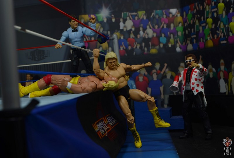 wwe legends 7 greg the hammer valentine figure review -hammer on hogan on the ring apron
