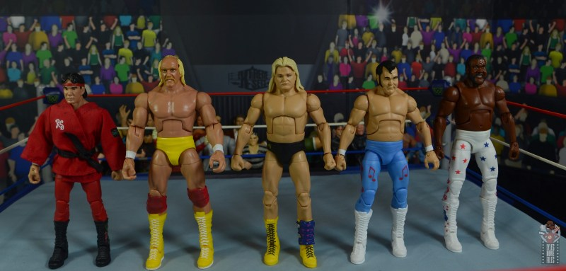 wwe legends 7 greg the hammer valentine figure review - scale with ricky steamboat, hulk hogan, honky tonk man and jyd