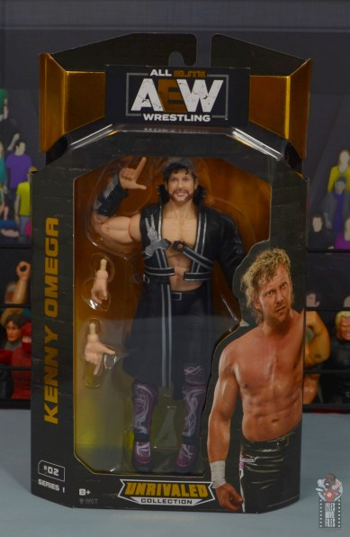 aew unrivaled kenny omega figure review - package front