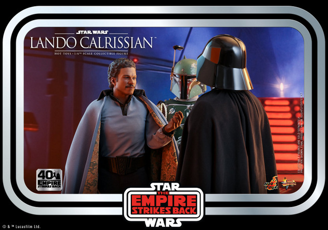 hot toys empire strikes back lando calrissian figure -in carbonite chamber with boba fett and darth vader