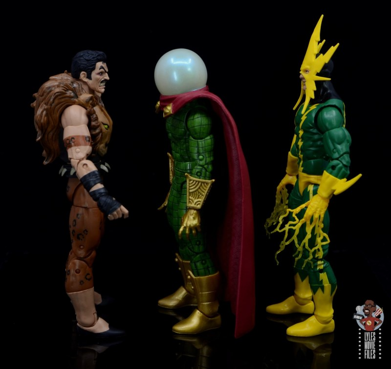 marvel legends retro mysterio figure review -facing kraven and electro