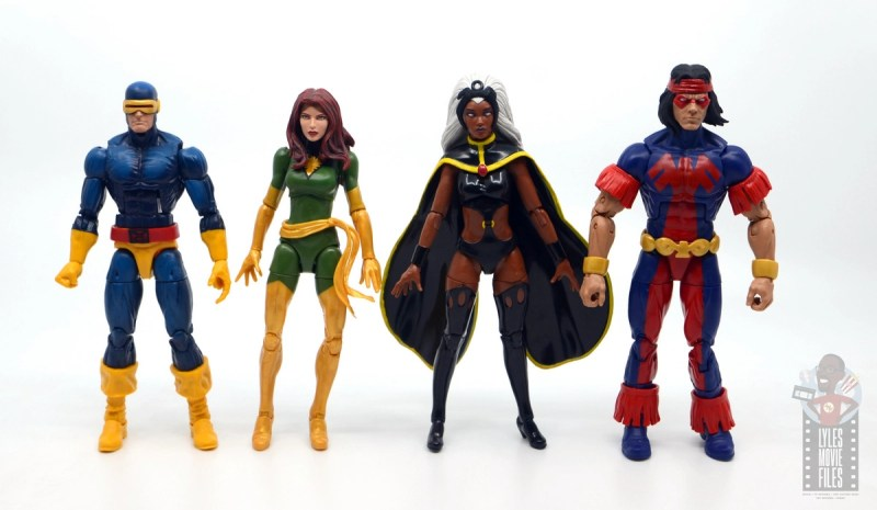 marvel legends storm and thunderbird figure review - scale with cyclops and phoenix