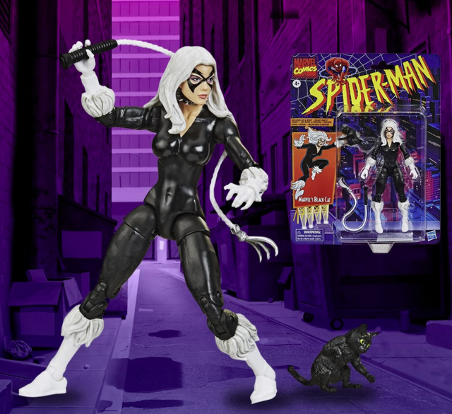Spider-Man Retro Marvel Legends Black Cat 6-Inch Action Figure - collage
