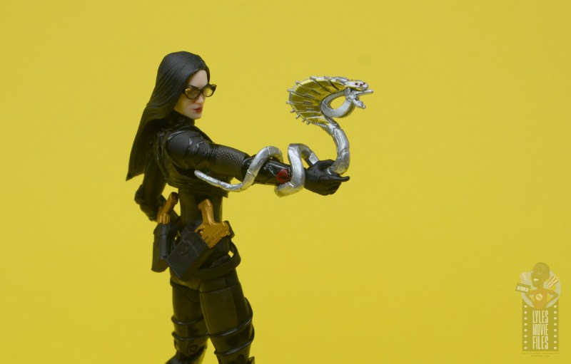 g.i. joe classified series baroness and cobra coil figure review - baroness holding metal snake