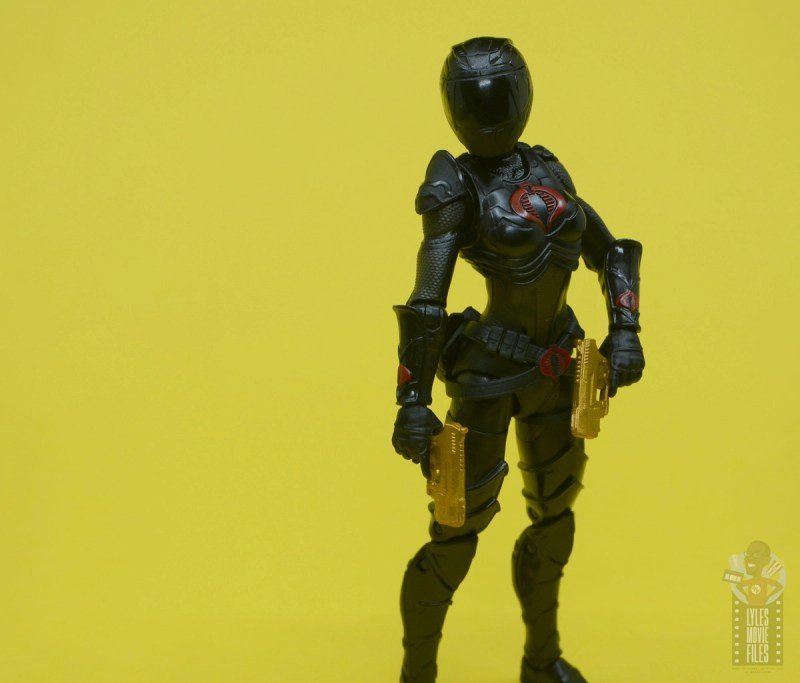 g.i. joe classified series baroness and cobra coil figure review - baroness wearing helmet with both guns