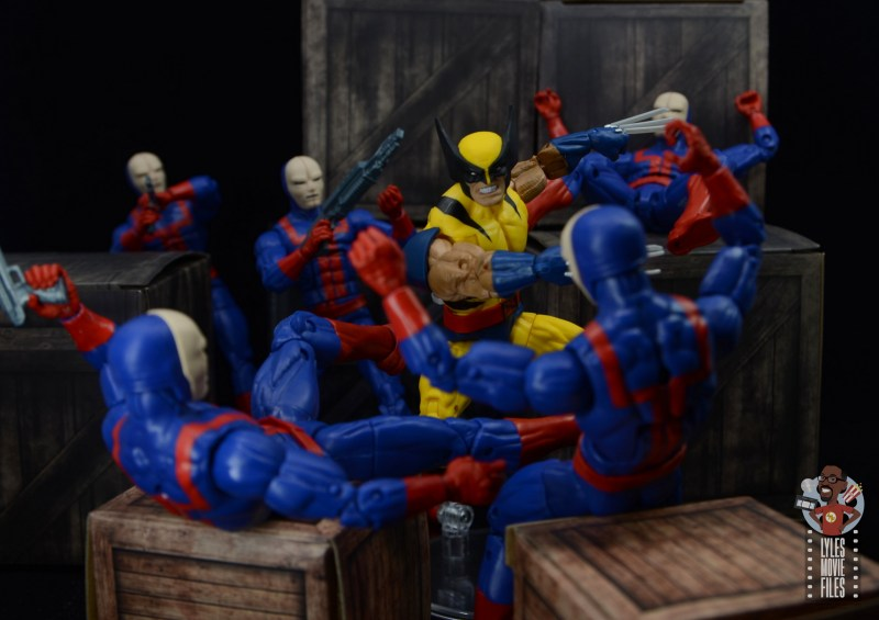marvel legends hellfire club guard figure review - getting carved up by wolverine