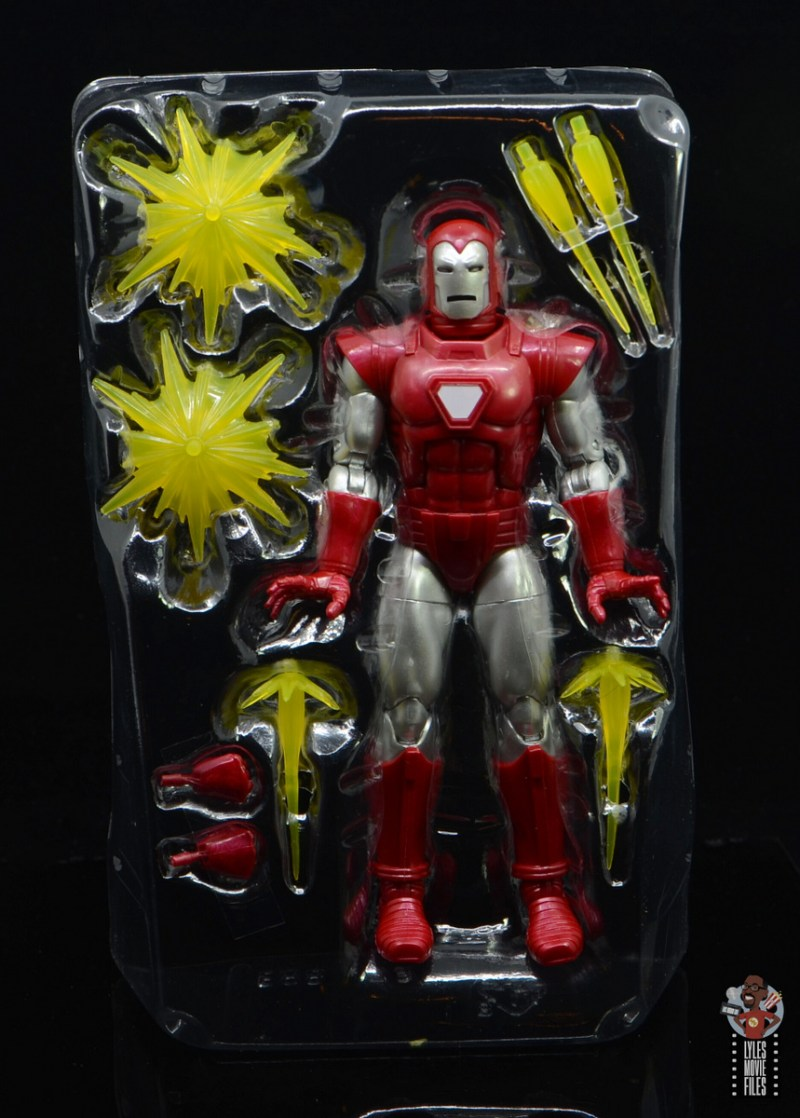 marvel legends silver centurion iron man figure review - accessories in tray