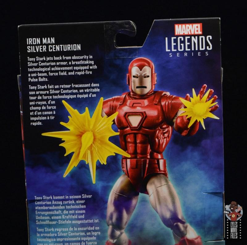 marvel legends silver centurion iron man figure review - package bio
