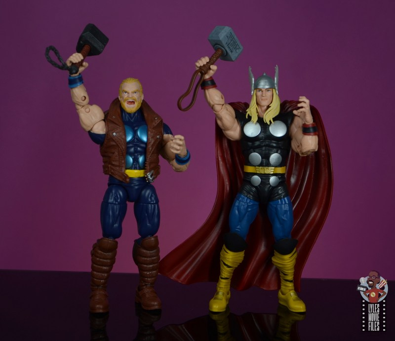 marvel legends thunderstrike figure review - raising the mace and mjolnir with Thor