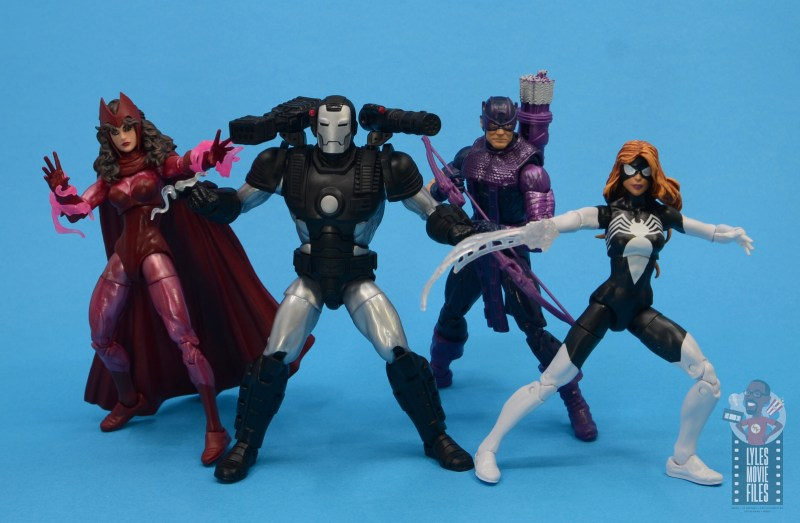 marvel legends war machine figure review - with scarlet witch, hawkeye and spider-woman