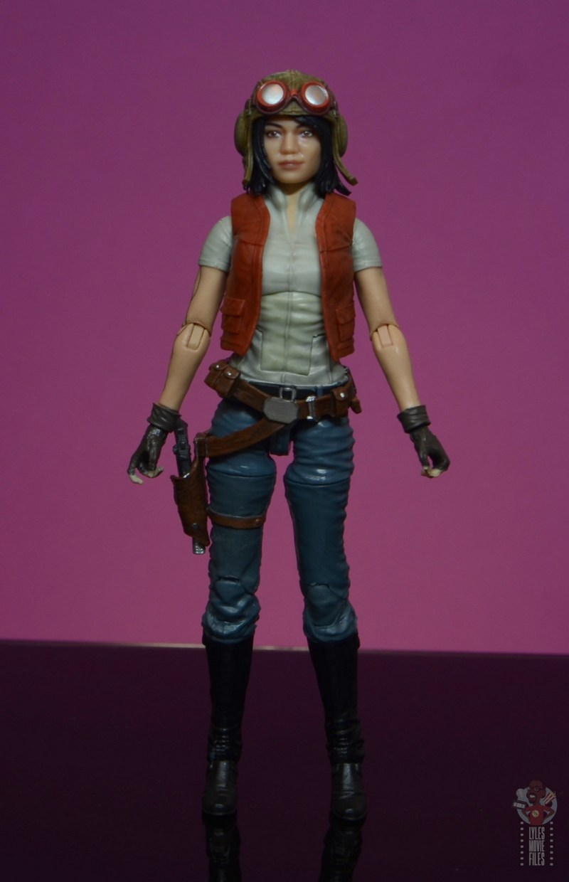 star wars the black series doctor aphra figure review -front with helmet on