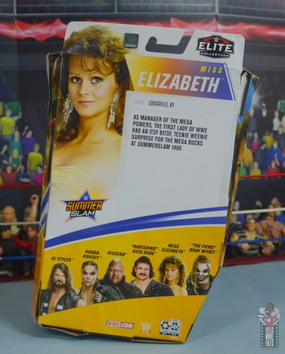 wwe elite series 77 miss elizabeth figure review - package rear