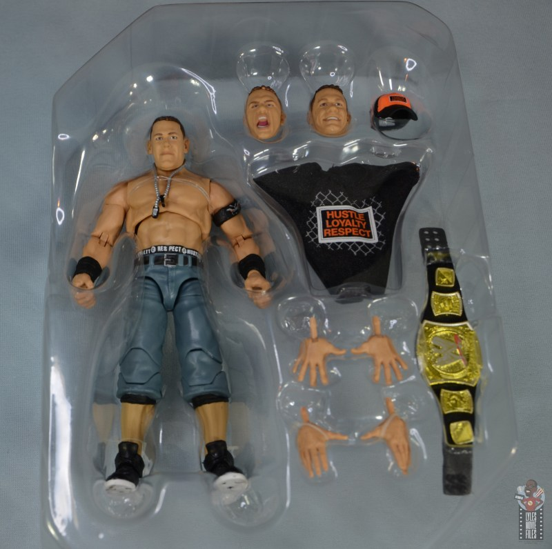 wwe ultimate edition john cena figure review - accessories in tray