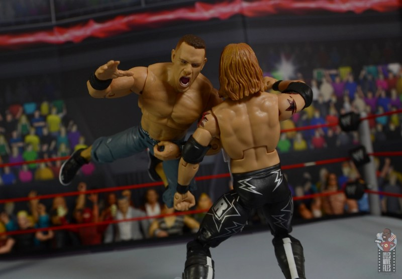 wwe ultimate edition john cena figure review - flying shoulder block to edge