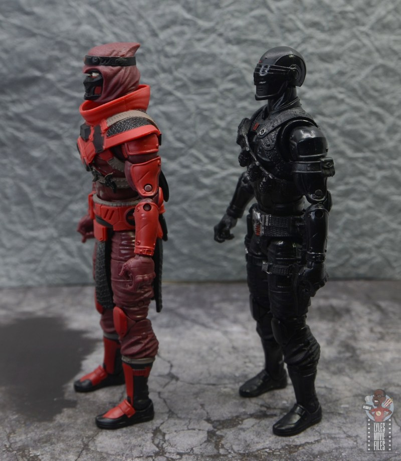 gi joe classified series red ninja figure review - side comparison to snake eyes