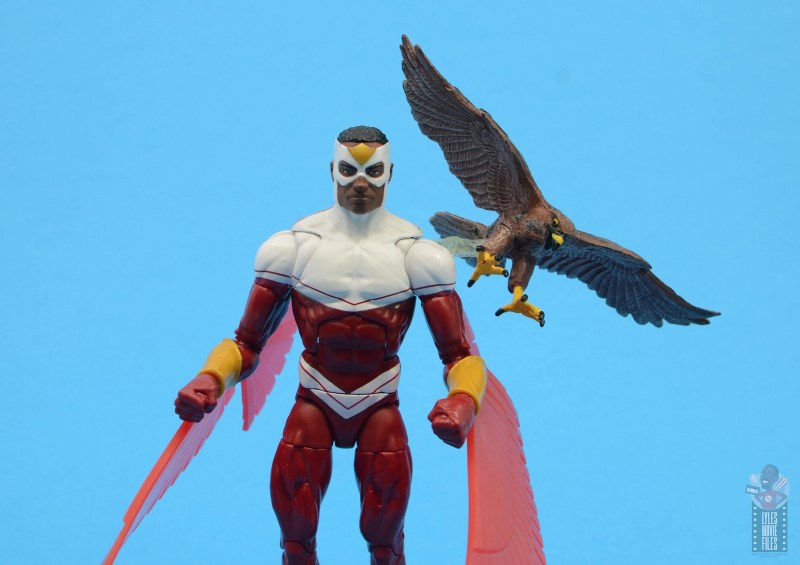 marvel legends falcon figure review -with redwing attached