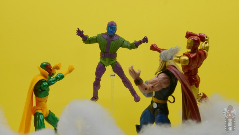 marvel legends kang figure review - attacking vision, thor and iron man