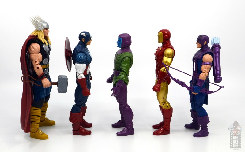 marvel legends kang figure review - facing thor, captain america, iron man and hawkeye