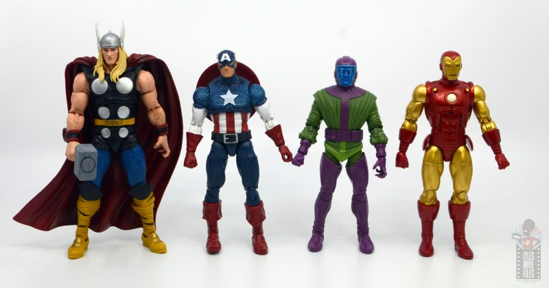 marvel legends kang figure review - scale with thor, captain america and iron man