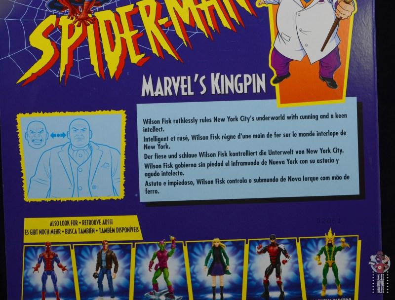 marvel legends retro kingpin figure review - package bio
