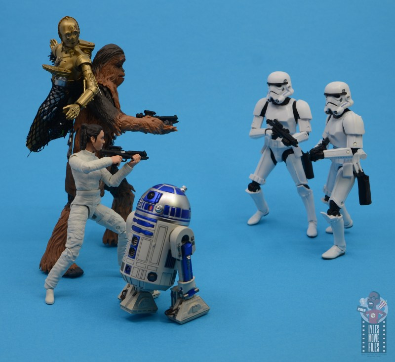 star wars the black series chewbacca and c-3p0 figure set review - vs stormtroopers with leai