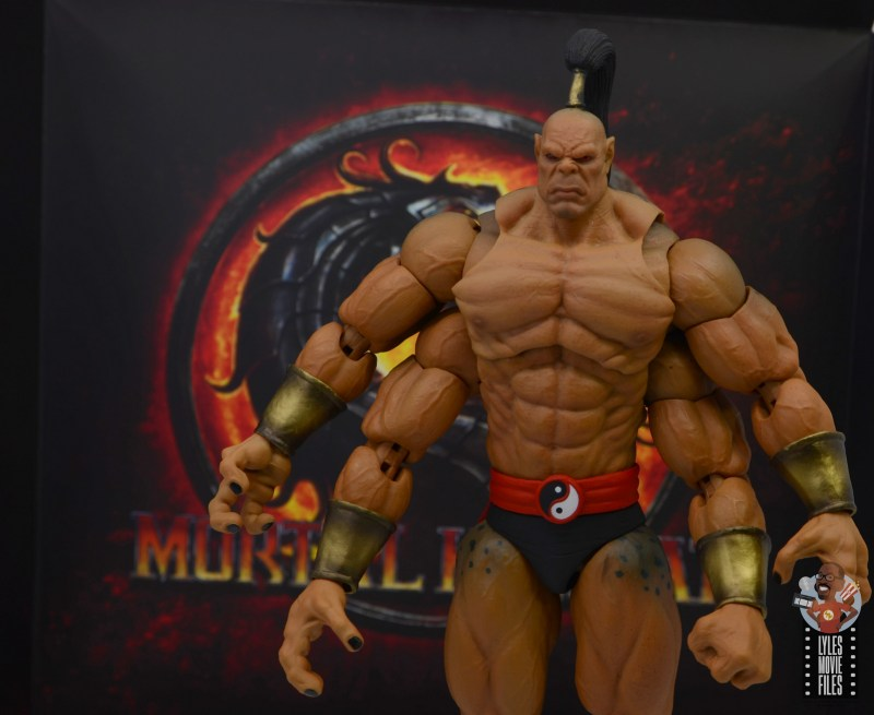 storm collectibles mortal kombat goro figure review - with package backdrop
