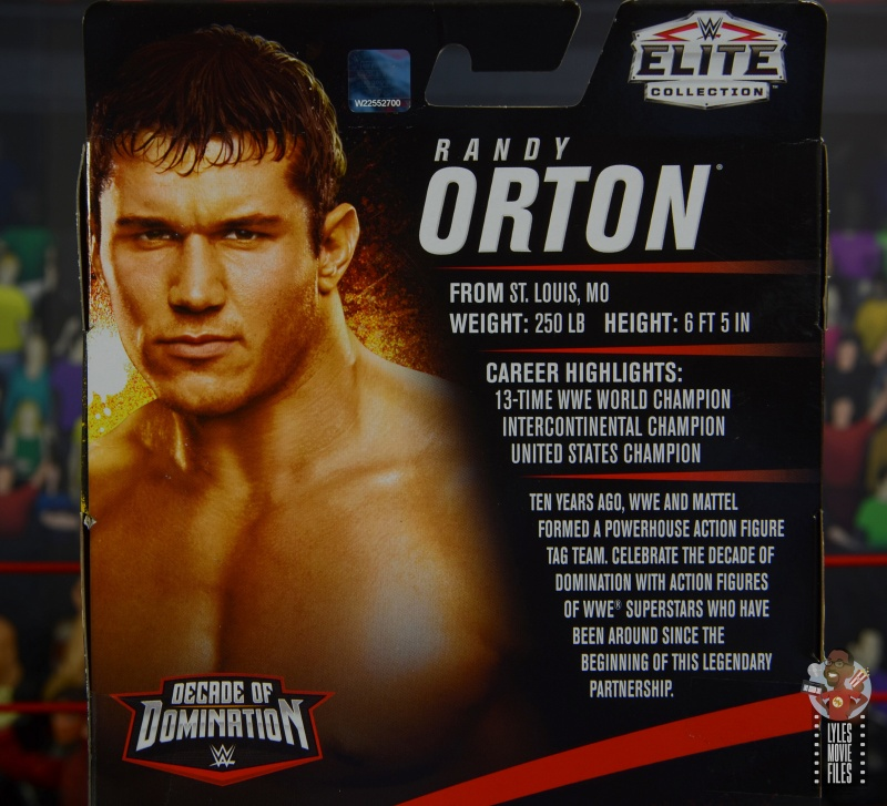 wwe decade of domination randy orton figure review - package bio