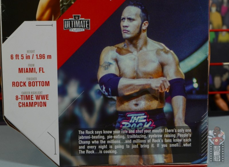 wwe ultimate edition the rock figure review - package bio close up