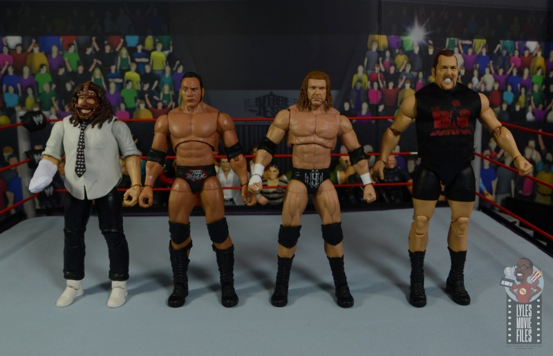 wwe ultimate edition the rock figure review - scale with mankind, triple h and the big show