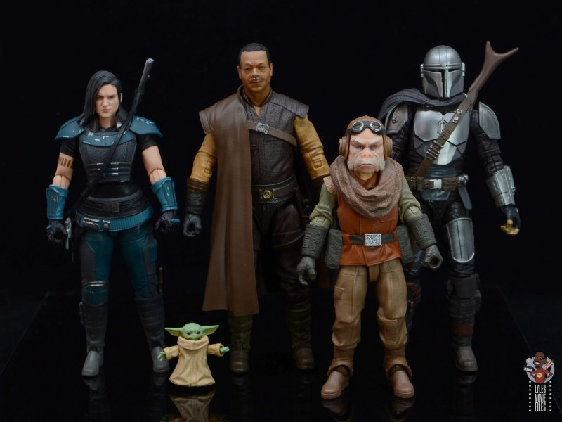 star wars the black series greef karga figure review - scale with cara dune, kuiil and mando
