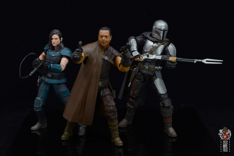 star wars the black series greef karga figure review - side by side with cara dune and mando