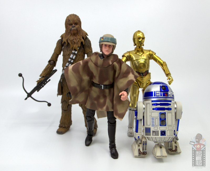 star wars the black series luke skywalker endor figure review - with figuarts chewbacca, c-3p0 and r2-d2
