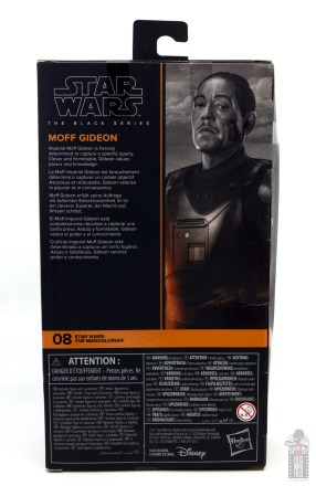 star wars the black series moff gideon figure review - package rear
