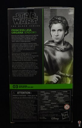 star wars the black series princess leia endor figure review -package rear