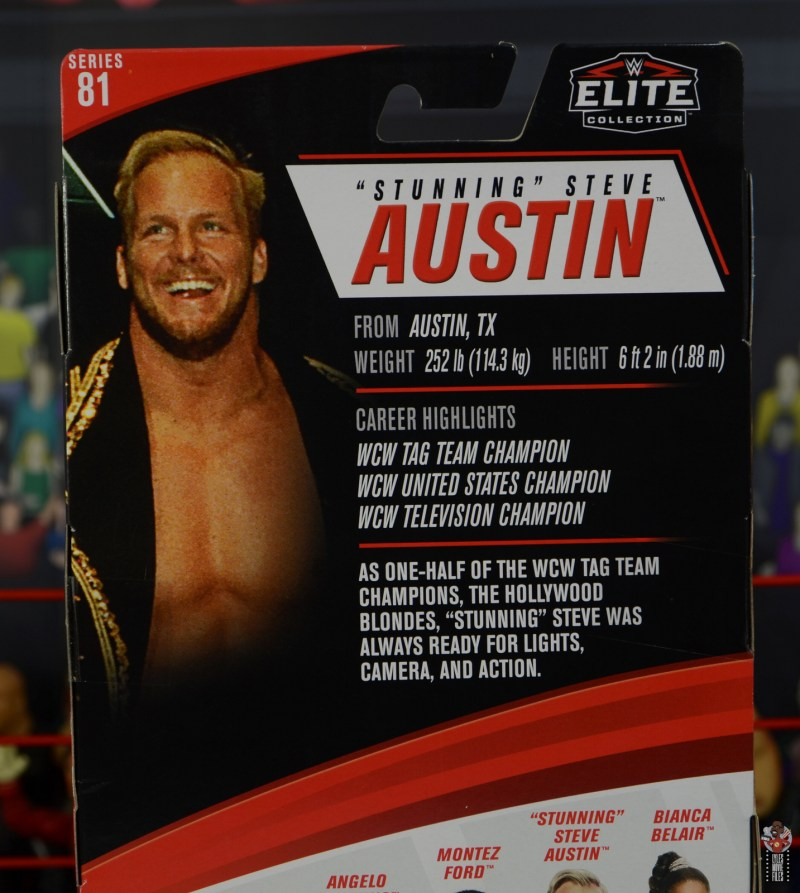 wwe elite series 81 stunning steve austin figure review - package bio