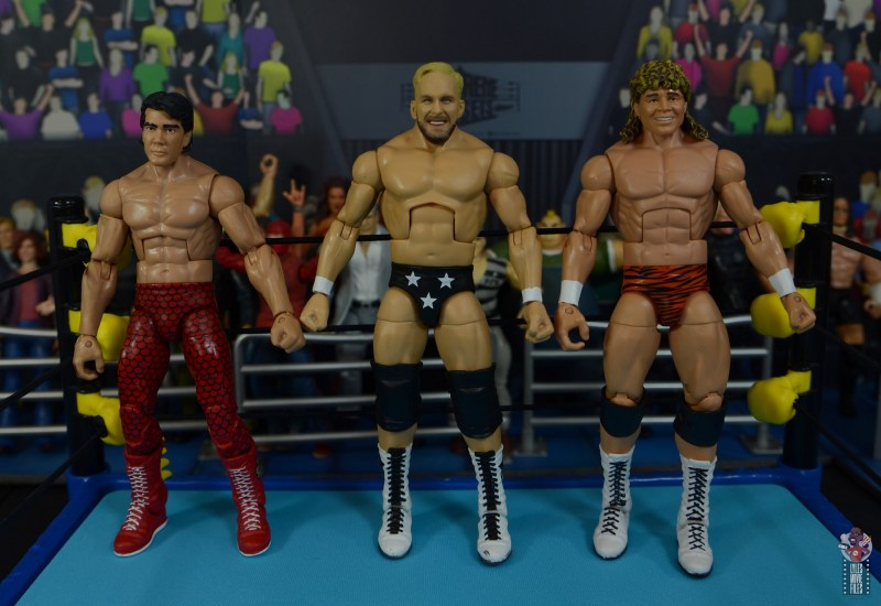 wwe elite series 81 stunning steve austin figure review - scale with ricky steamboat and flyin brian