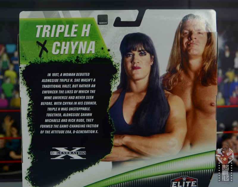 wwe triple h and chyna figure set review -package bio