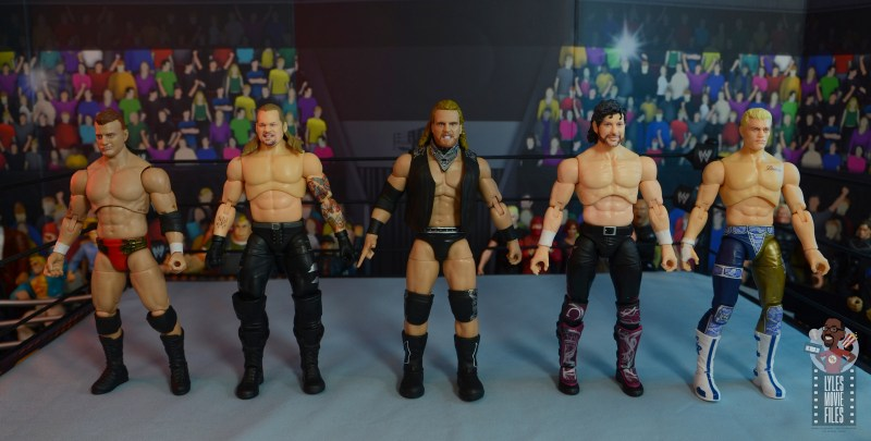 aew unrivaled hangman adam page figure review - scale with mjf, chris jericho, kenny omega and cody