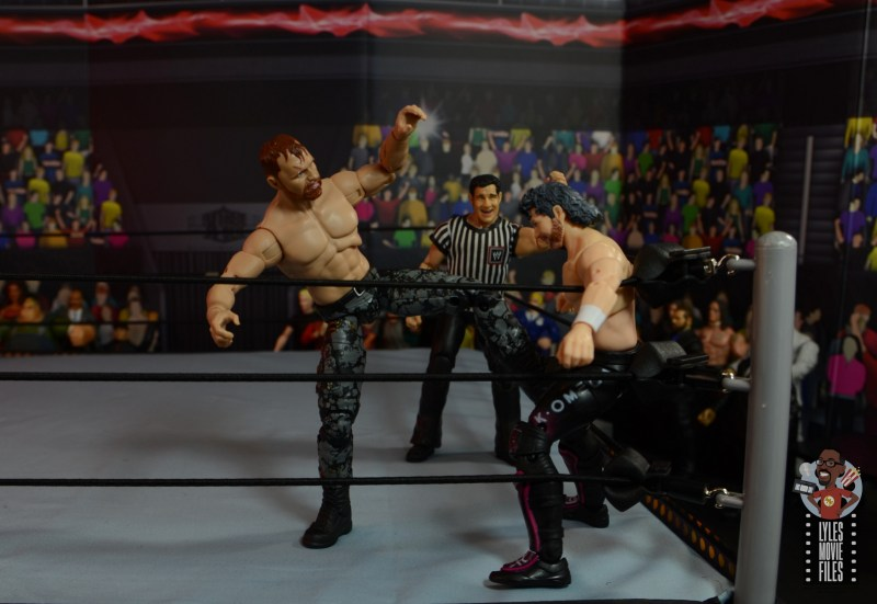 aew unrivaled jon moxley figure review - stomping kenny omega in corner