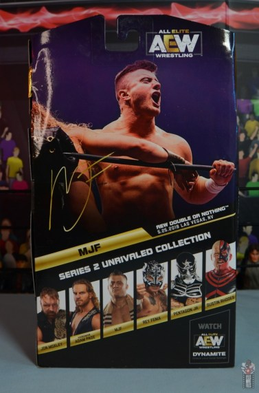 aew unrivaled mjf figure review - package rear