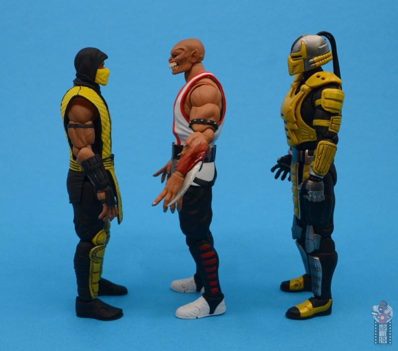 storm collectibles mortal kombat baraka figure review - facing scorpion and cyrax