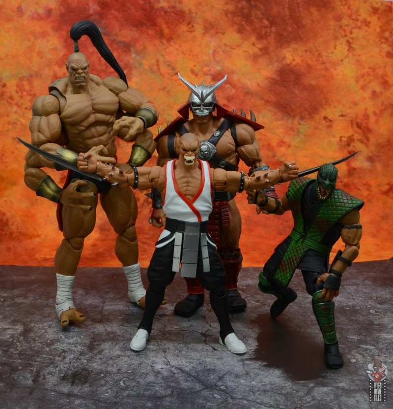 storm collectibles mortal kombat baraka figure review - with goro, shao khan and reptile